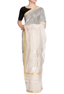ivory-striped-sari-with-blouse-piece