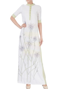 white-green-embroidered-maxi-dress