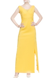 yellow-front-slit-gown