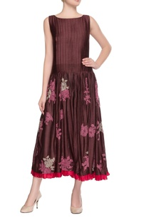 coffee-brown-embroidered-dress