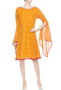 orange-split-sleeve-dress