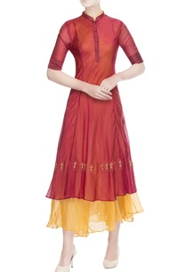 maroon-orange-double-layer-dress