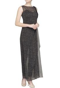 black-white-printed-sheer-maxi-dress