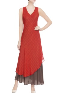 red-black-double-layer-dress