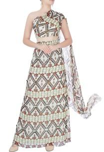 multi-colored-printed-drape-gown
