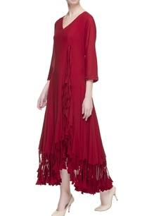 red-wrap-style-midi-dress