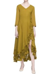 ochre-yellow-wrap-style-dress
