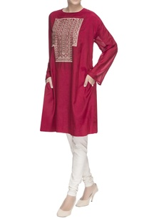 maroon-embroidered-long-kurta