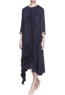 navy-blue-layered-tassel-dress