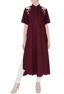 burgundy-applique-embroidered-kurta