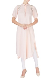 light-peach-high-collar-kurta