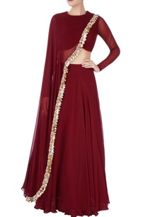 burgundy-lehenga-with-sequin-drape