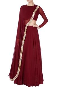 burgundy-lehenga-with-sequin-drape