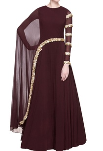 burgundy-brown-cutdana-anarkali