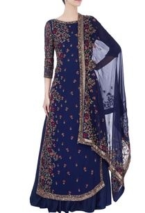 blue-thread-embroidered-kurta-with-lehenga-dupatta