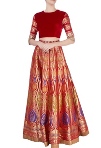 red-brocade-lehenga-set