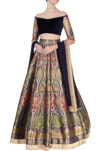 blue-printed-lehenga-off-shoulder-blouse
