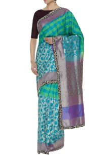 banarasi-checks-sari-with-unstitched-blouse