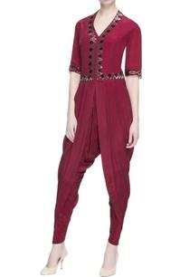 maroon-dhoti-style-jumpsuit