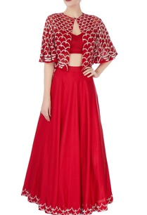 red-lehenga-with-embroidered-cape
