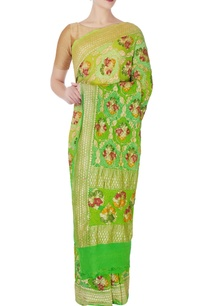 forest-green-bandhani-sari