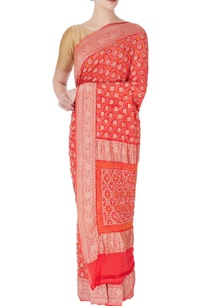 red-bandhani-brocade-sari