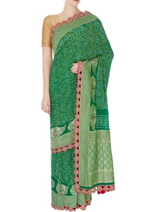 green-bandhani-sari-with-laser-cut-border