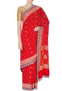 red-bandhani-sari-in-brocade-style