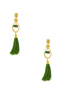 green-tasseled-dangler-earrings