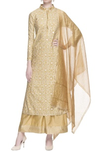 beige-kurta-with-silver-gota-work-set