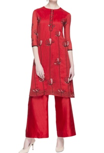 red-chanderi-embroidered-kurta-pants