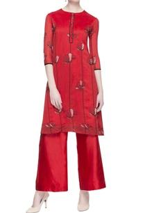 red-chanderi-embroidered-kurta-pants