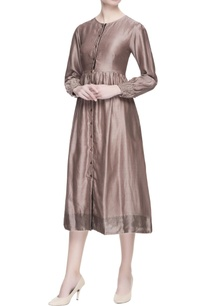 metallic-grey-chanderi-midi-dress