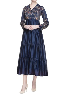 electric-blue-chanderi-tiered-dress
