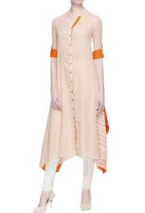 beige-orange-cotton-kurta