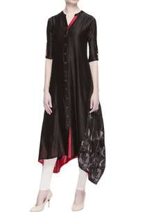 black-chanderi-embroidered-kurta