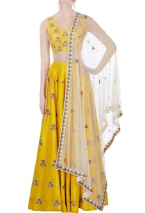 yellow-raw-silk-lehenga-set