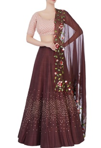 dark-brown-embroidered-lehenga-set