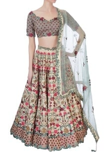 multicolored-tussar-silk-lehenga-set