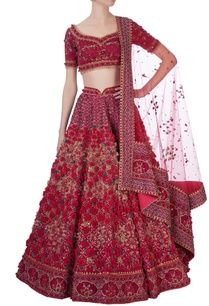 red-laser-cut-rose-motif-lehenga-set