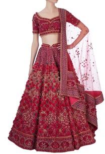 red-laser-cut-rose-motif-lehenga-set