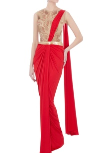 red-beige-sari-gown