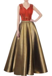 rust-crop-top-antique-gold-flared-skirt
