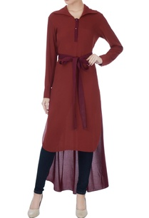 maroon-polyester-chiffon-high-low-top
