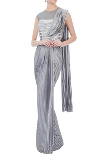 grey-metallic-sari-gown