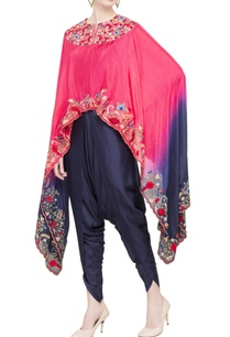 pink-navy-silk-blue-embroidered-cape-tunic