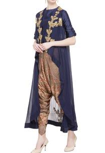 navy-blue-georgette-silk-embellished-asymmetric-jacket-dhoti