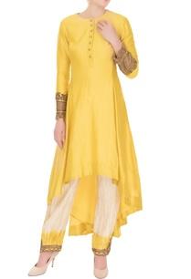 yellow-chanderi-high-low-kurta-with-salwar-pants