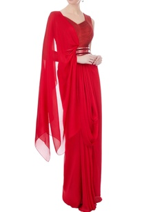 red-chiffon-bead-draped-sari-gown