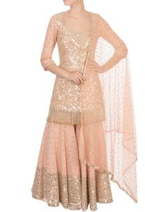 peach-raw-silk-sequin-kurta-set